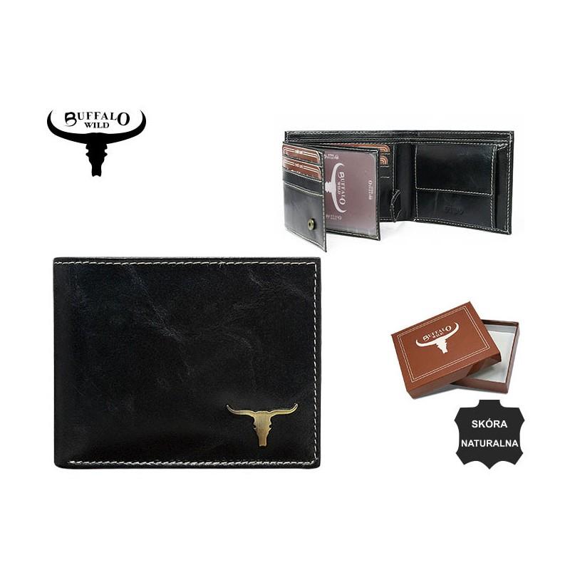 58208d911173b Mały Portfel męski skórzany Buffalo WILD RM-05 Czarny  tanie