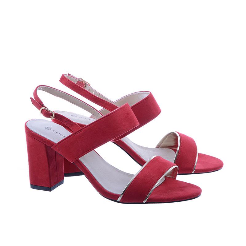 Damskie Sandały na obcasie zamsz Goodin GD FL243 Czerwone
